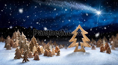 landscape from wood decoration in the