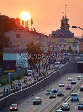 urban sunset kiev ukraine