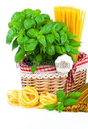 pasta and ingredients for cooking