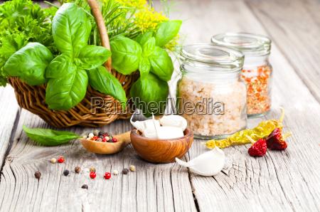 spices garlic salt pepper and basil