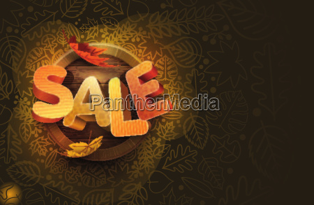 vector autumn sale design with leaf