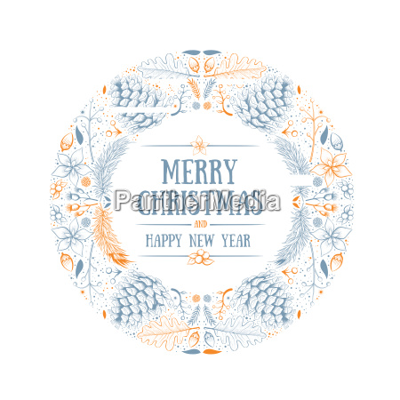 vector round christmas frame with hand
