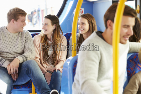 group of young people on bus