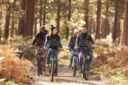 gruppe von freunden auf fahrraedern im