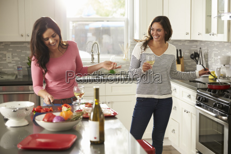 female gay couple preparing meal together