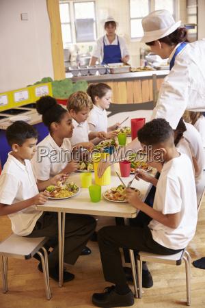 grundschule kinder essen mittagessen in der