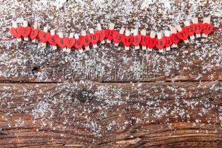 weihnachten adventskalender mit schnee