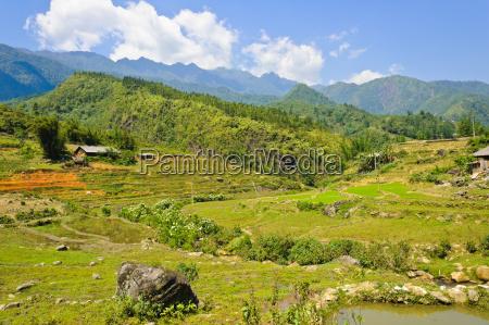bergblick auf reisterrassenfeld in sapa vietnam
