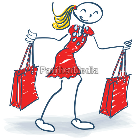 stick figure with two shopping bags