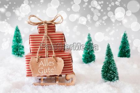 christmas sleigh on white background alles