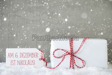 gift cement background with snowflakes nikolaus