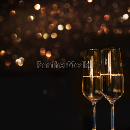 two champagne glasses for festive occasions