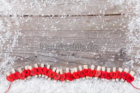 weihnachts adventskalender mit schnee