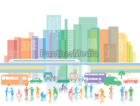 grosse stadt mit personen und strassenverkehr