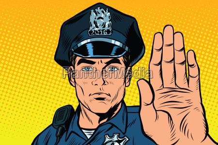 retro polizeibeamte stoppen geste
