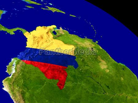 kolumbien mit flagge auf der erde
