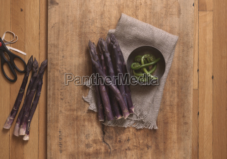 overhead view of purple asparagus with