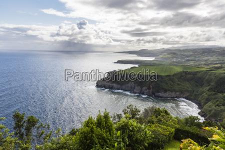 view along steep coast from miradouro