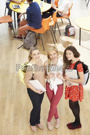 overhead shot of female students stehend