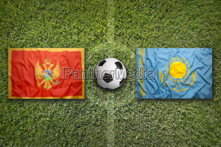 montenegro vs kazakhstan flags on soccer