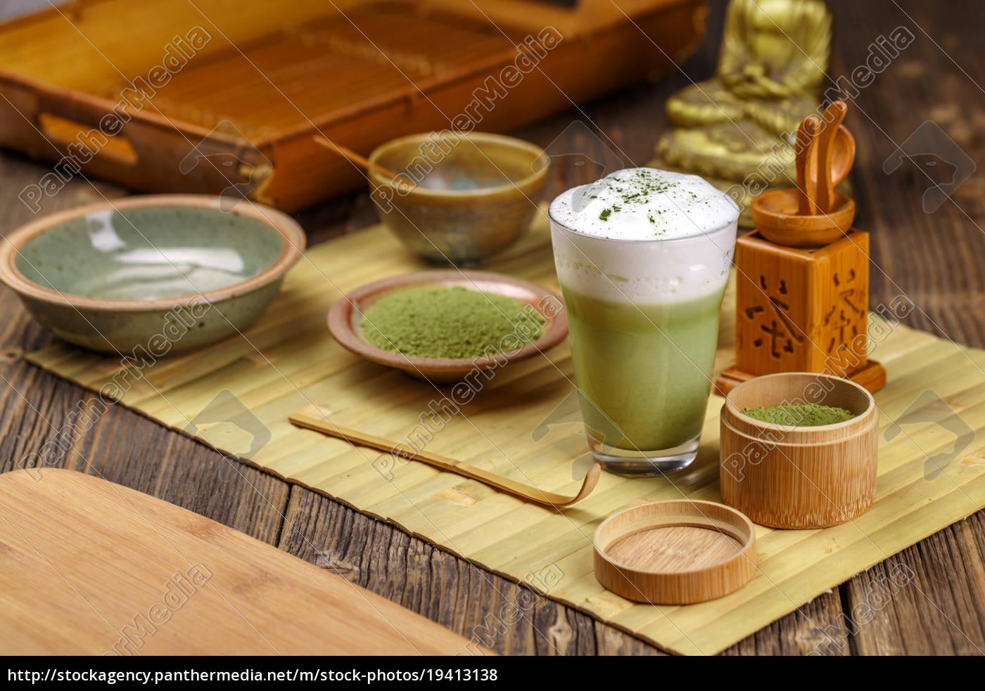 grüner, tee, matcha, latte - 19413138