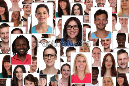 background collage multicultural young people people