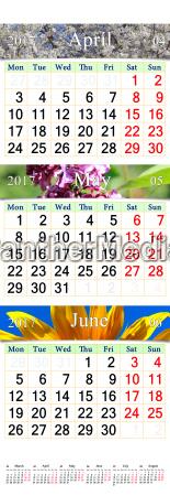 kalender fuer april juni 2017 mit