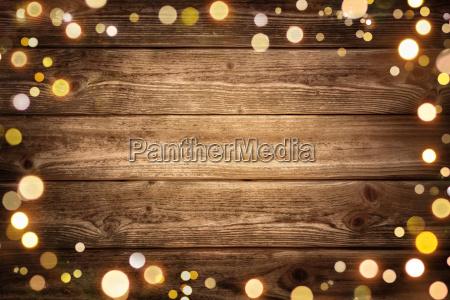 festive background of wood boards framed