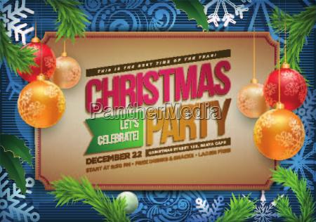 vektor weihnachts party poster design vorlage