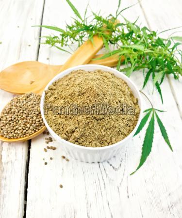 flour hemp in bowl with spoon