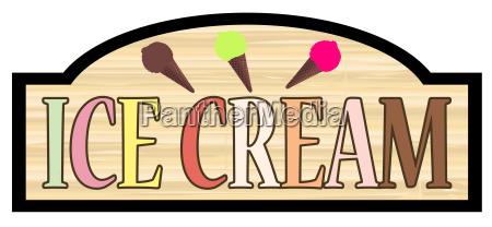 wooden store ice cream sign