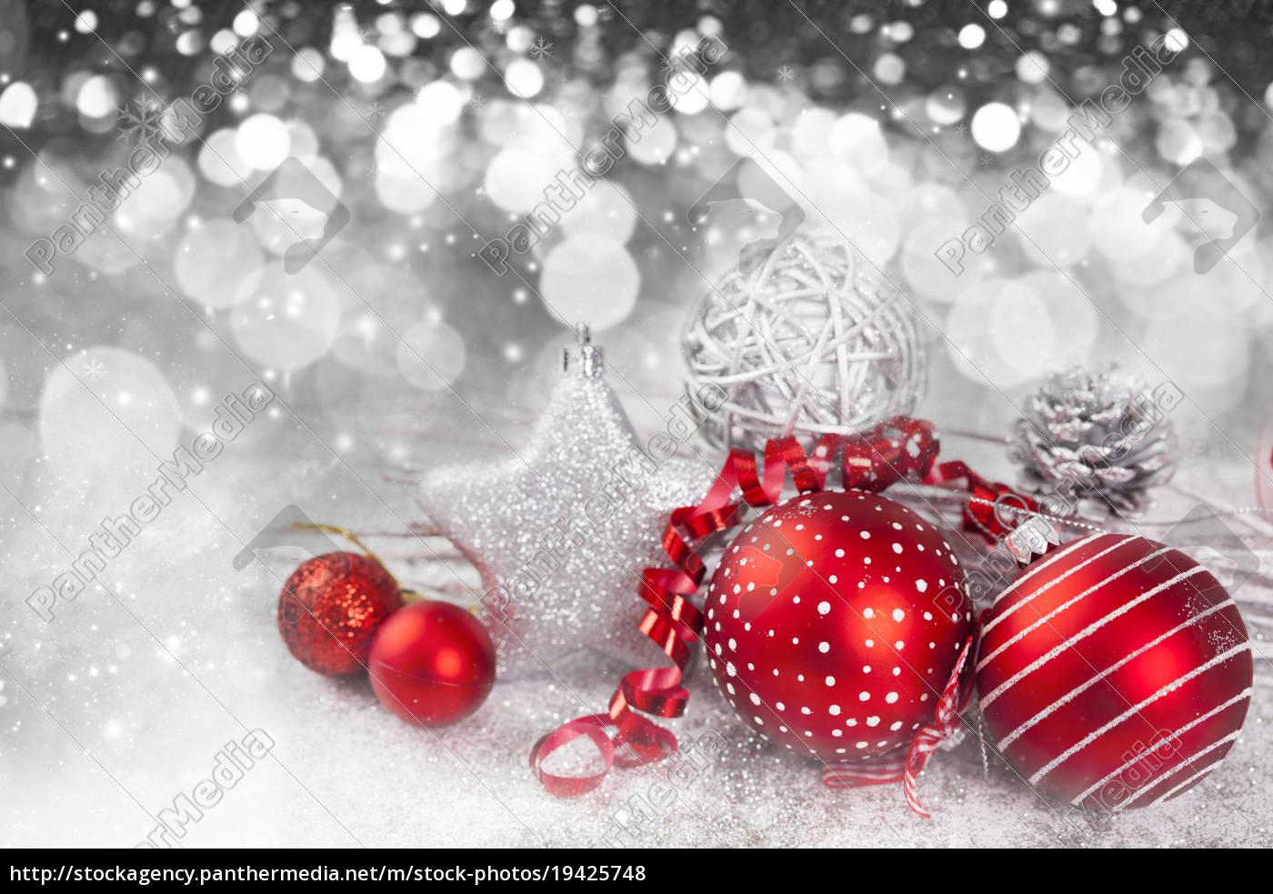 weihnachtshintergrund, mit, roten, dekorationen - 19425748