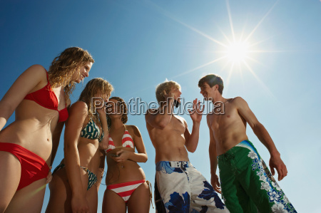 group of people in swim wear