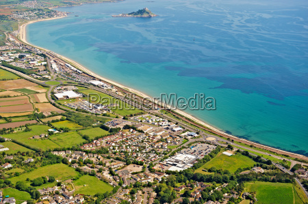 aerial view of seaside town