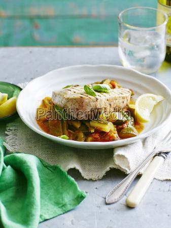 still life plate of tuna bean