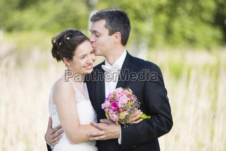portrait of romantic newlywed mid adult