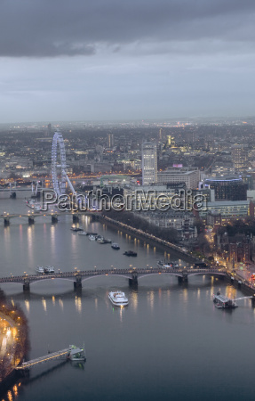 aerial view of the thames and