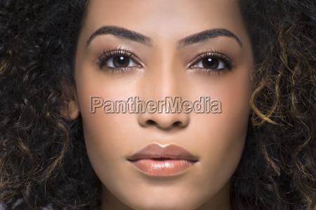 close up studio portrait of beautiful