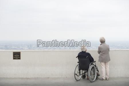 rear view of senior man in