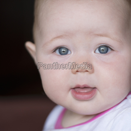 close up portrait of baby girl