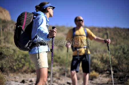 hiking couple superstition mountains arizona usa