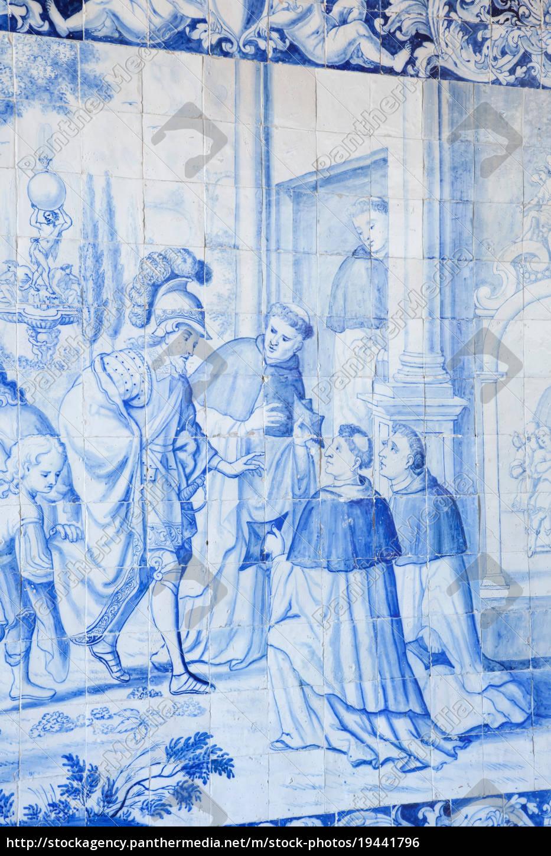 historische, azulejos, die, blau-glasierter, keramik, tilework, berühmt - 19441796
