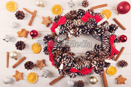 advent wreath with traditional christmas decorations