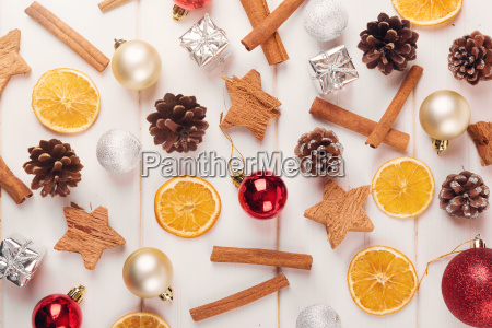 christmas background with traditional festive decorations