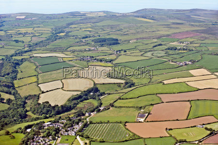english agricultural fields aerial view