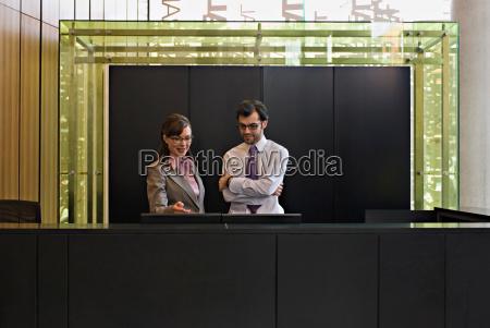 woman and man at reception