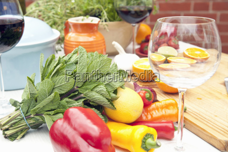 still life of garden table with
