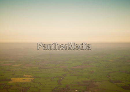 aerial view of rural farmlands