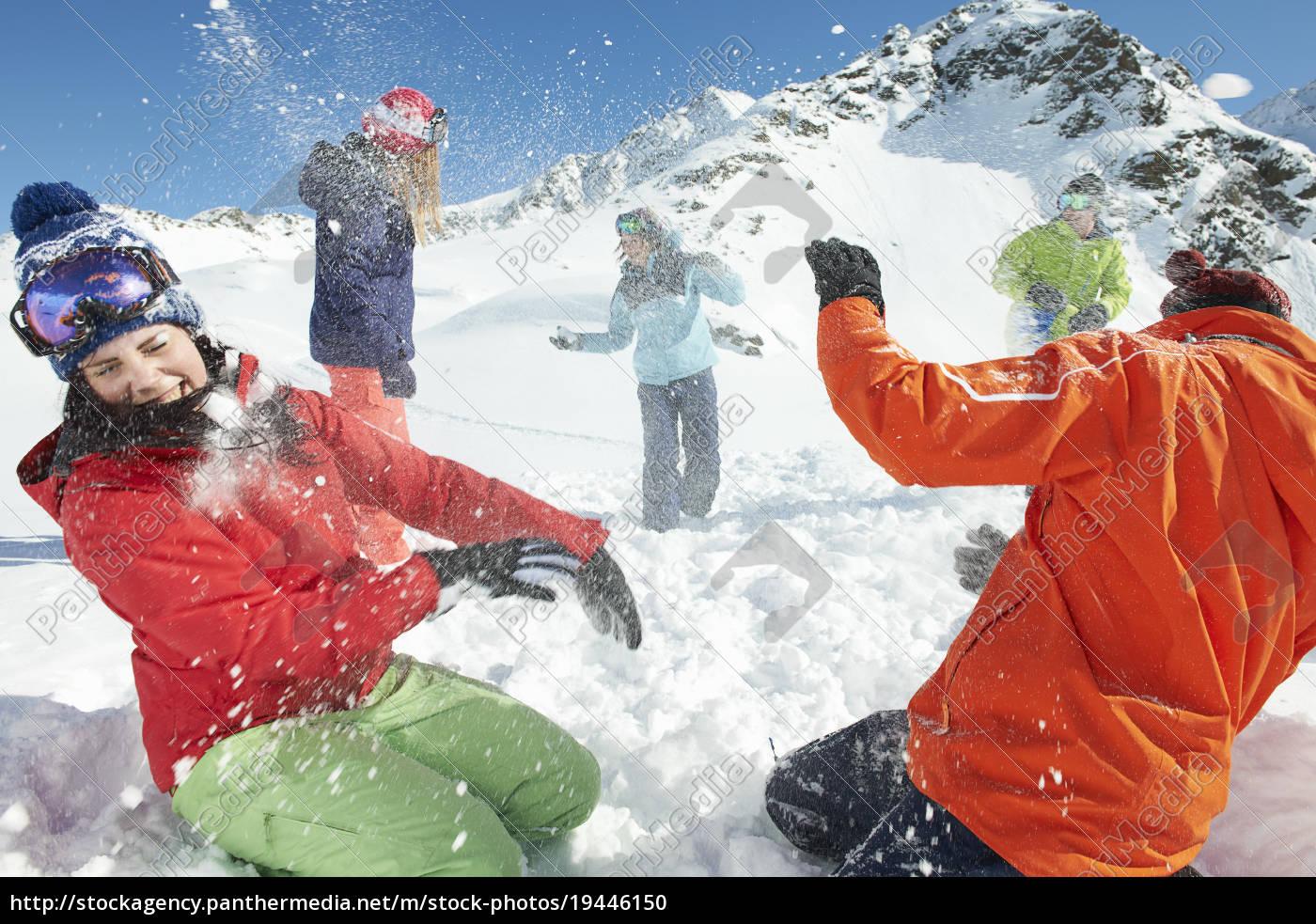 friends, having, snowball, fight, , kuhtai, , austria - 19446150