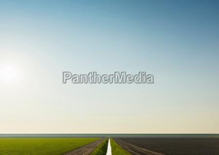 water ditch and fields espel noordoostpolder
